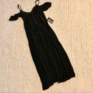 NWT Express split front black midi dress